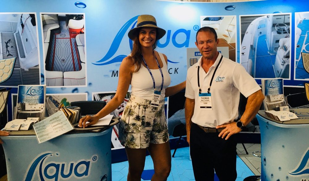 Female Model from Miami Modeling Agency assisting Aqua Marine Deck at Miami Boat Show
