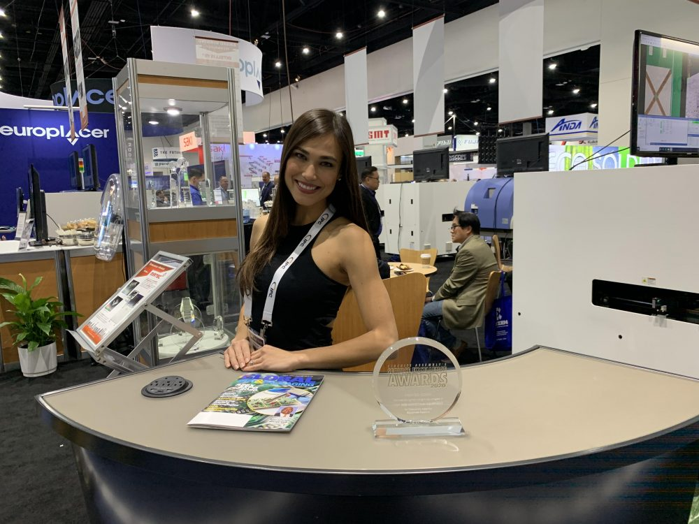 Beautiful trade show and convention model posing at the largest electronics convention in North America, the APEX Expo in San Diego, CA.